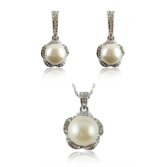 Sets 18k white Gold GF pearls earrings pendant necklace with Swarovski crystals