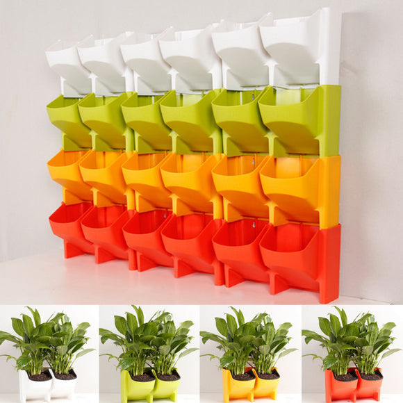 Self Watering 2-Pocket Vertical Wall Planter Hanging Flower Plant Garden Box Pot