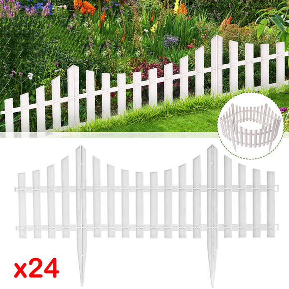 24Pcs Plastic Edging Border Christmas Tree Outdoor Garden Picket Fence Panels