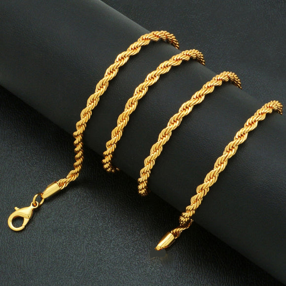 18k Gold F 50cm 20'' Necklace 3mm Solid Twist Wave Woven Rope Chain AUS MADE
