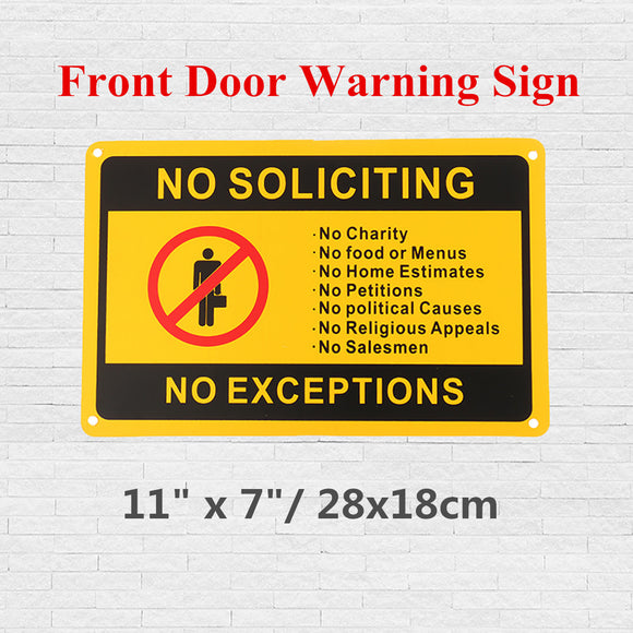 Large Waterproof No Soliciting No Exceptions Door Sign Security Warning Sticker