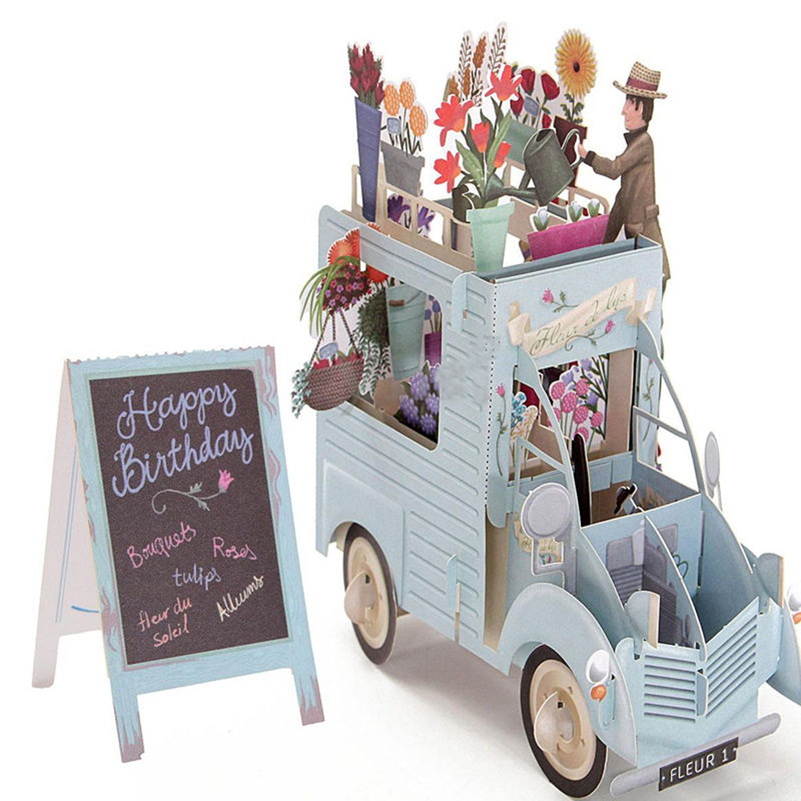 English 3d Pop Up Flower Car Greeting Card Happy Birthday