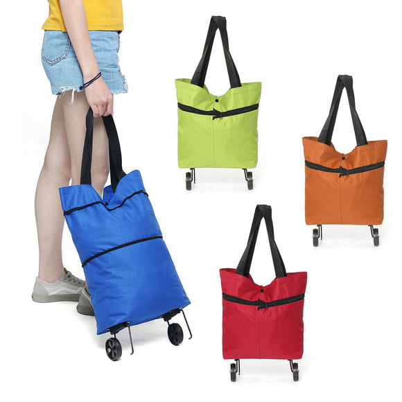 25L Portable Folding Shopping Trolley Cart Grocery Storage Bag Basket with Wheel
