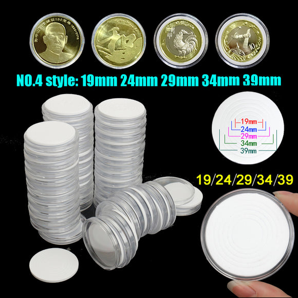 50pcs Clear Coin Plastic Holder Capsule Case Cover Adjustable 19 24 29 34 39mm