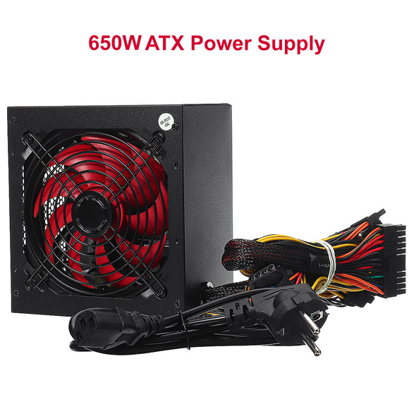 650W ATX Desktop Gaming Computer PC 4 PIN Splitter PFC Silent Fan Power Supply