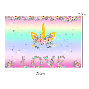 7x5FT Unicorn Love Flower Photography Photo Backdrop Studio Prop Background
