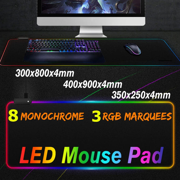 RGB Colorful Backlit LED Waterproof Large Gaming Mouse Pad Mousepad Keyboard Mat