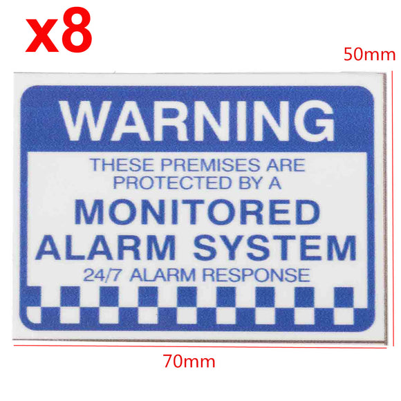 8pcs Waterproof Warning Monitored Alarm System Security Sign Label Decal Sticker