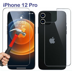 9H Tempered Glass Screen Protector for Apple iPhone 12 PRO Front and Film Back
