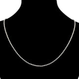 White Gold Plate Silver 46cm 18'' Necklace 2mm Solid Twist Wave Woven Rope Chain