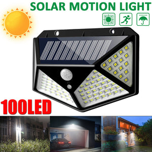 ARILUX 100 LED Solar Power PIR Motion Sensor Outdoor Garden Wall Lamp Light