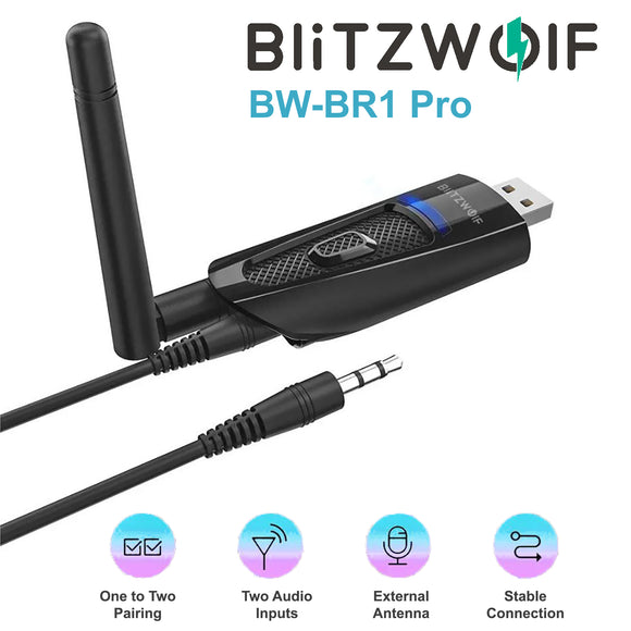 BlitzWolf 2 In 1 Wireless Bluetooth 5 HIFI Audio Receiver Transmitter Adapter BW-BR1 Pro