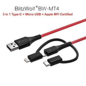 BlitzWolf 0.9m Type-C Lightning MFI Certified Micro USB Charger Data Cable Cord BW-MT4