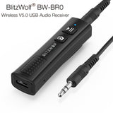 BlitzWolf 2 in 1 Mini Wireless Stereo USB Bluetooth V5 AUX Music Audio Receiver BW-BR0