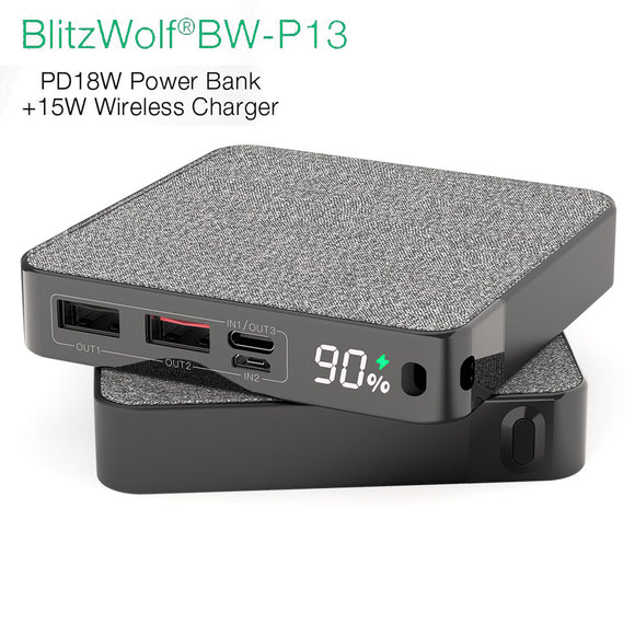 BlitzWolf QC 3.0 15W Phone QI Wireless Charger 10000mAh LED Portable Power Bank BW-P13