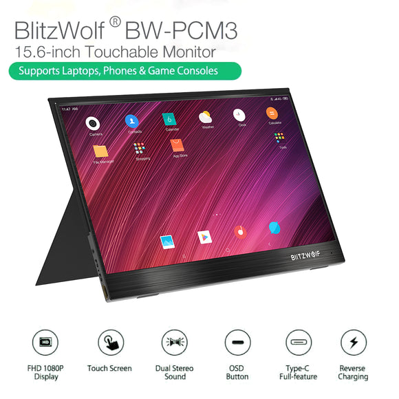 BlitzWolf BW-PCM3 15.6'' Touch Screen FHD 1080P Portable Computer Monitor Screen