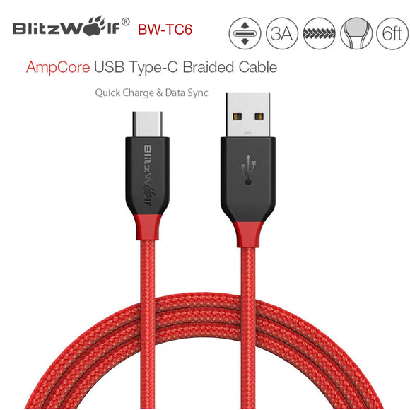 BlitzWolf AmpCore 1.8m 3A USB Type-C Braided Charging Charger Data Cable Cord BW-TC6