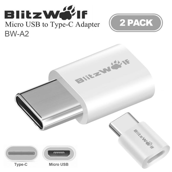 x2 BlitzWolf Type-C USB C to Micro USB Data Sync Charger Cable Connector Adapter