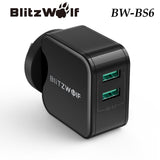 BlitzWolf BW-S6 QC3.0 Universal Dual USB 2 Ports Charger Quick Charge Adapter