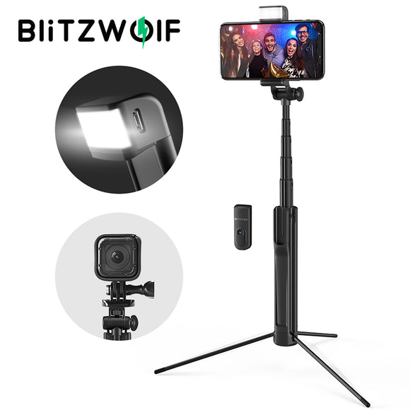 Blitzwolf BW-BS8 Wireless Bluetooth Tripod Selfie Stick + LED Flash Fill Light