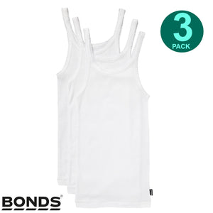 3 Pack Bonds Girls Kids White Teena Undergarments Comfy Cotton Singlet Tank Top UYG43A