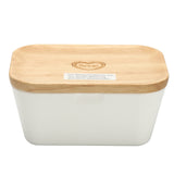 Butter Box Dish Food Serving Storage Container Holder Melamine with Wood Lid