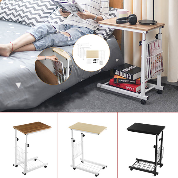 Adjustable Computer PC Laptop Steel Castor Wheel Bed Bedside Table Stand Desk