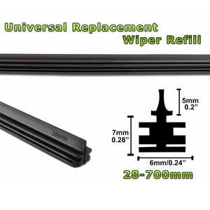 "Universal 24"" 6mm Car Rubber Cleaner Wiper Blade Refill Insert Black Replacement"
