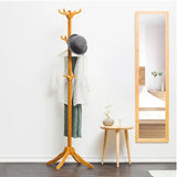 12 Hooks Bamboo Clothes Umbrella Hat Bags Coat Hanger Storage Rack Stand Holder