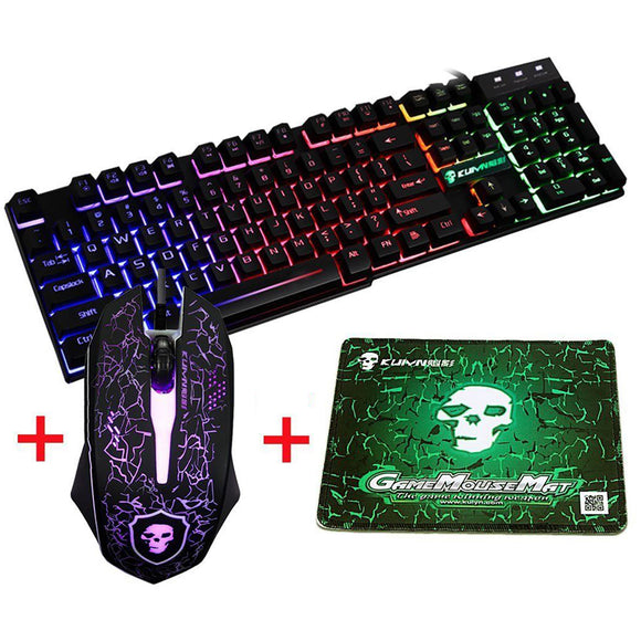 Waterproof LED Backlit Wired Mechanical Gaming Keyboard 2400DPI Mouse Pad Combo