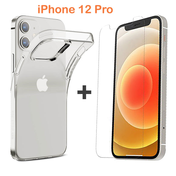 Apple iPhone 12 PRO Clear Case Cover and Anti-scratch Front Screen Protector