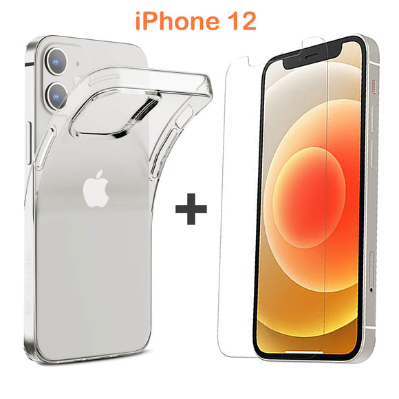 Apple iPhone 12 Clear Case Cover and Soft Anti-scratch Front Screen Protector