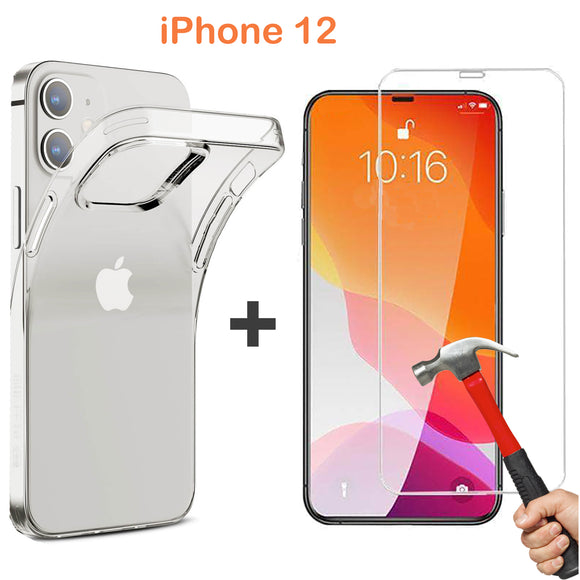 Apple iPhone 12 Clear Bumper Case Cover & 9H Tempered Glass Screen Protector