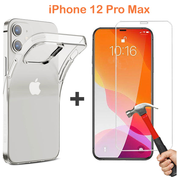 Apple iPhone 12 PRO MAX Clear Case Cover & 9H Tempered Glass Screen Protector