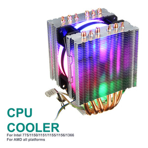 RGB CPU Cooler Cooling Fan for Intel LGA 775 1150 1151 1155 1156 1366 AMD AM4