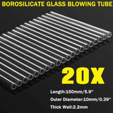 20Pcs 2mm Thick 10mmx150mm Borosilicate Clear Glass Lab Blowing Tube Tubing