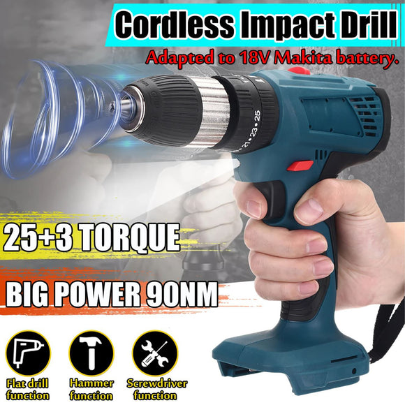 2 Speed 13mm Cordless Electric Impact Driver Hammer Drill For Makita 18V Battery