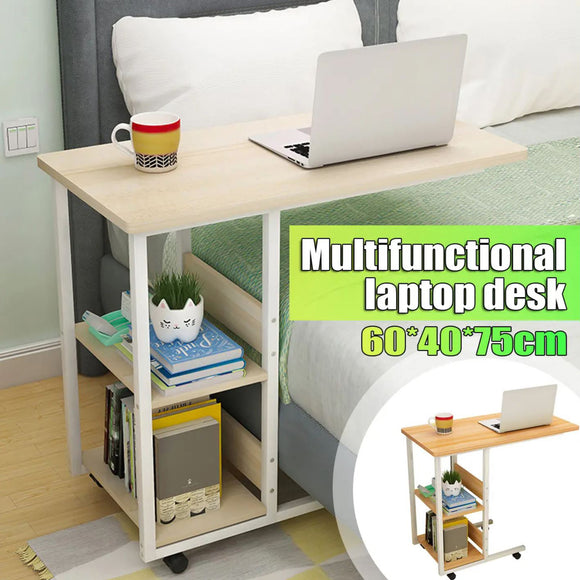 Mobile Portable Adjustable Bedside Bed Computer Laptop Study Desk Table + Shelf