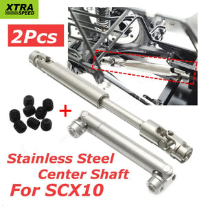 2pcs Xtra Speed Stainless Steel Center Drive Shaft Axial SCX10 RC Car Crawler