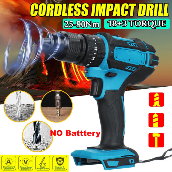 18V 2 Speed Cordless Electric Power Impact Drill Driver Screwdriver + LED Light