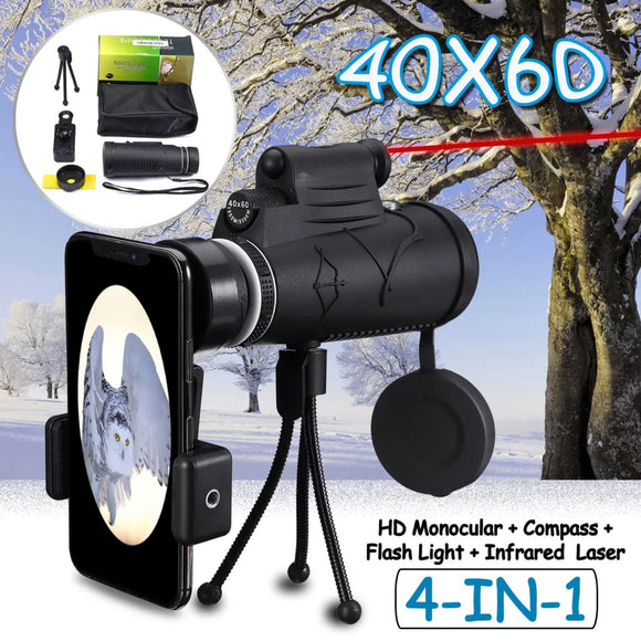 IPRee Laser Flashlight Compass 40x60 HD Night Vision Phone Monocular Telescope MLS-L1
