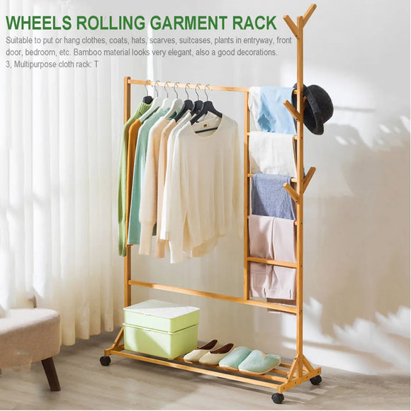 Wooden Garment Coat Clothes Pants Shoe Bag Hat Hanger Stand Organiser Rack