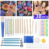 38Pcs Mandala Dotting Dot Tools Set Rock Painting Kit Nail Art Pen Paint Stencil