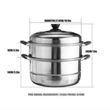 3 Tier Stainless Steel Food Cooking Steamer Hot Pot Rack Cooker Kitchen Cookware