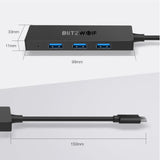BlitzWolf BW-TH3 Type-C to 4 Port USB 3.0 OTG Data Hub Dock Adapter Converter