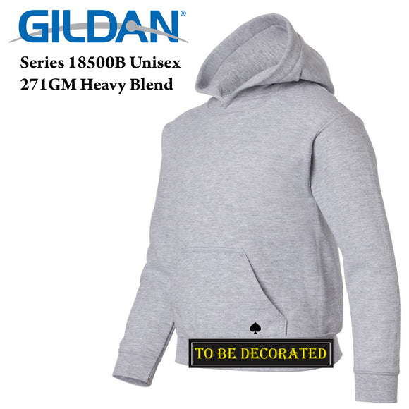 Gildan Sport Grey Hoodie Heavy Hooded Sweater Boy Girl Youth Kids