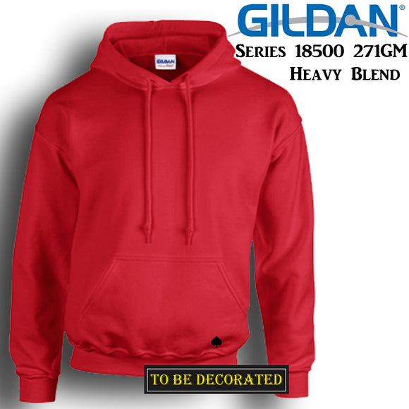 Gildan Red Hoodie Heavy Blend Basic Hooded Sweat Sweater Mens S - XXL