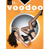 Voodoo Shine Lace Top Stay Ups Black Magic 15 Denier Sexy Women Stockings Tights H30440