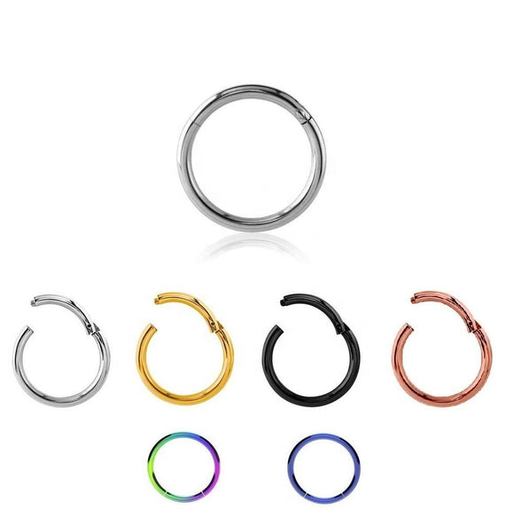 Nose Lip Ear Septum Eyebrow Tragus Cartilage Surgical Steel Body Piercing Hinged Hoop Clicker Ring 6-10mm