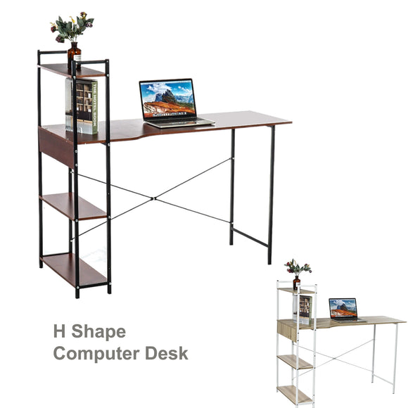 Office Computer Study Desk Table Workstation Storage + 4 Tiers Shelf Bookshelf